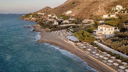 You can dine right on the sand at the Four Seasons Hydra