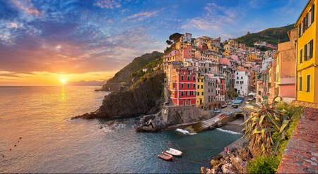 The coastal region of Liguria stretches from the towns of Cinque Terre, like colourful Riomaggiore, to the Italian Riviera