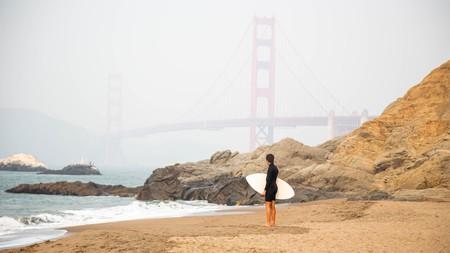 Baker Beach, San Francisco, offers great views of the Golden Gate Bridge