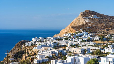 Take a winding road that zigzags up a hill to reach the white-domed Church of Panagia