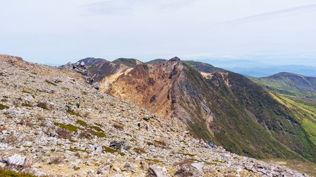 Mount Nasudake (Chausudake) is an active volcano with views over surrounding mountains including Mount Nikko-Shirane