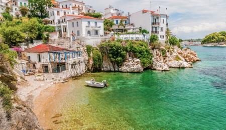 Enjoy traditional Greek scenes and stunning views on a trip to Skiathos