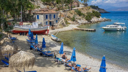 Mandraki Beach is the place to go for sand on Hydra