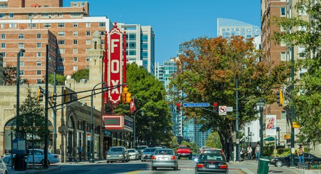 Fox Theatre is located on the corner of Ponce de Leon Avenue and Peachtree Street in Atlanta