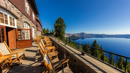 You can't help but relax when taking in the spectacular views from the Crater Lake Lodge patio