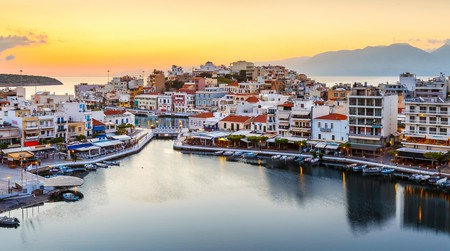 The charming harbour of laid-back Agios Nikolaos, on the east coast of the island