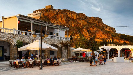 The main square sits at the centre of life in Chora, the capital of Skyros