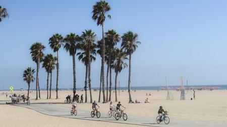 Riding a cruiser along the bike path at Santa Monica Beach is a quintessential activity in this coastal community