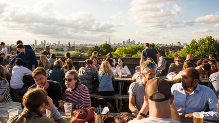 Frank's Cafe is a great place for rooftop socialising with views of London