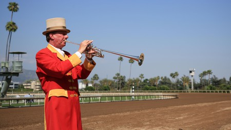Santa Anita Park combines Art Deco style with the scenic backdrop of the San Gabriel Mountains