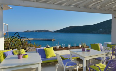 Enjoy the view from the terrace of the Niriedes Hotel in Platis Gialos