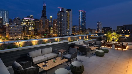Enjoy delicious food and skyline views at the rooftop restaurant at the Nobu Hotel in Chicago
