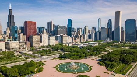 Stay near Grant Park and you'll be treated to a fantastic view of Chicago's skyline