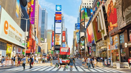 Spend the morning strolling through central Times Square before catching a Broadway show in New York's Theater District