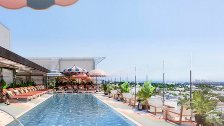 Relax by the rooftop pool at Pendry West Hollywood after a clay body wrap or yoga class