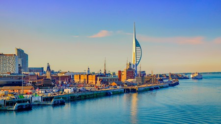 Spinnaker Tower dominates the skyline by Portsmouth International Port