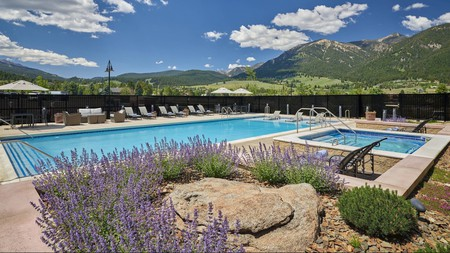 Relax by the pool after hitting the slopes or hiking trails around Big Sky, Montana