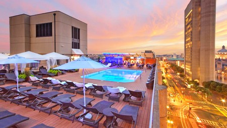 The Colonnade Hotel's rooftop pool provides the perfect place to unwind
