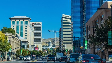 Downtown Salt Lake City, the most populous city in the state of Utah