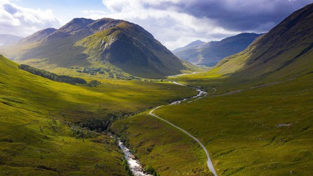 Take in the scenery from above with views of Glen Etive in the Scottish Highlands