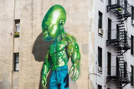 Street art, graffiti, painted wall of a building, Soho, Manhattan, New York