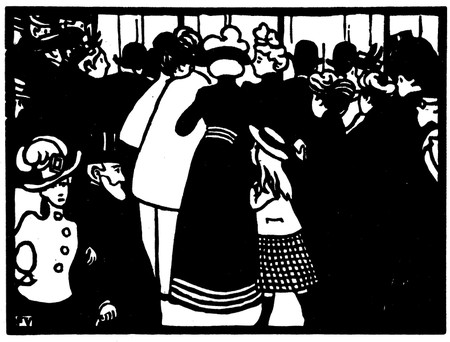 """La vitrine de Lalique"" woodcut by Félix Vallotton, 1901 [ © Cyrille Largillier / WikiCommons ]"