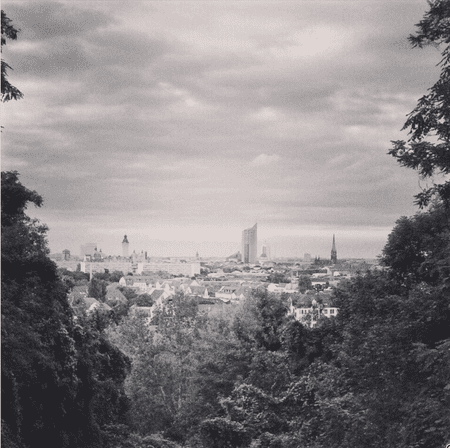 This is the view from Fockeberg, a small hill to the south of Leipzig. You can see downtown with its new town hall, the city hightower, and some churches.