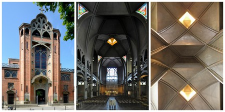 Exterior, interior, and ceiling of Église Saint-Jean-de-Montmartre │© Peter Haas, seier+seier, and GO69 via WikiCommons