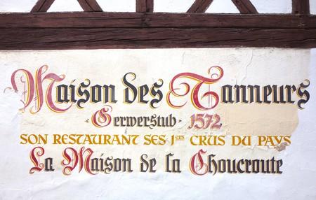 Sign on La Maison des Tanneurs in Strasbourg, making choucroute since 1572