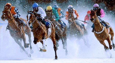 White Turf International Horse Races Are Run On A Frozen Lake