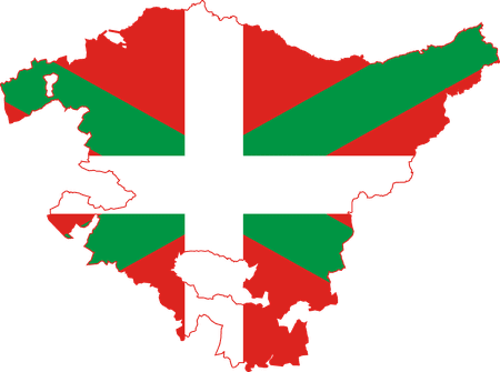 A map of the Basque Country in the colours of the flag