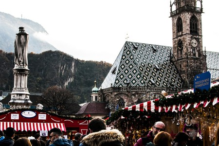 Christmas Market in the famous Walther Square in Bolzano, South Tyrol