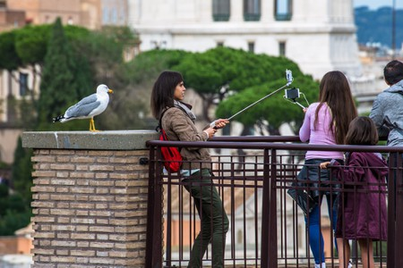 Selfie sticks in Rome