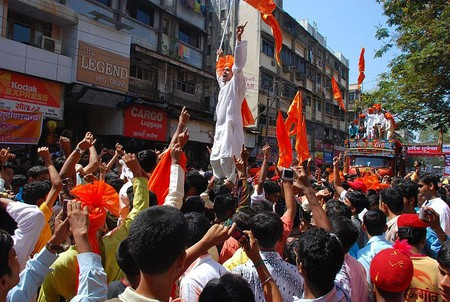 A traditional celebratory procession during Gudi Padwa, the Marathi new year, in Mumbai