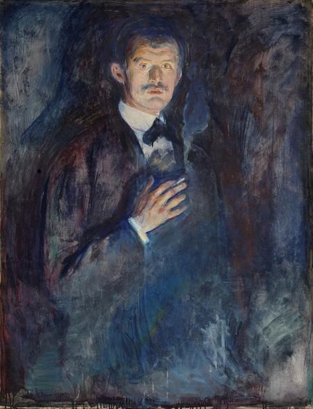 NOR Selvportrett med sigarett, ENG Self-Portrait with Cigarette