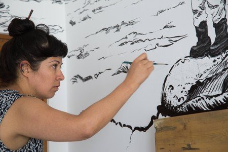 Visual and installation artist Soma, painting her room
