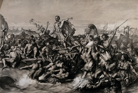 V0048276 Caesar's first invasion of Britain: Caesar's boat is pulled