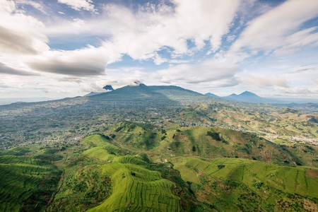 The approach to the volcanoes, as seen from Gishwati forest | Courtesy of Gaël R. Vande weghe and Philippe Nyirimihigo