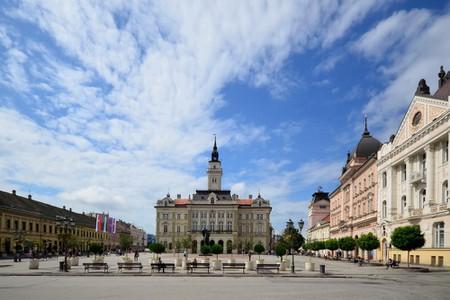 The gorgeous main square in Novi Sad