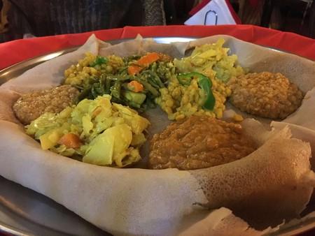 A vegetarian platter at Mesob in Pigneto