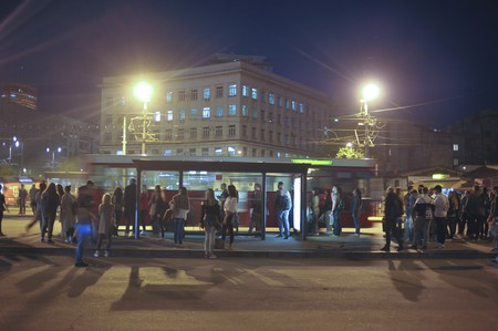 People waiting on the bus station in the downtown, Belgrade, Serbia