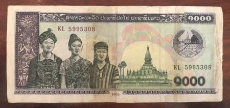 Reverse of 1,000 Lao Kip Note