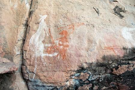 Aboriginal rock art in the Kakadu National Park featuring a kangaroo
