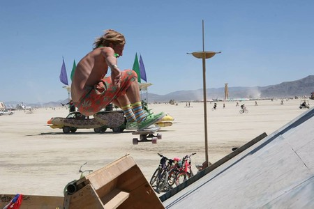 Danny Thomas catches air on the vert ramp at music and arts festival, Burning Man