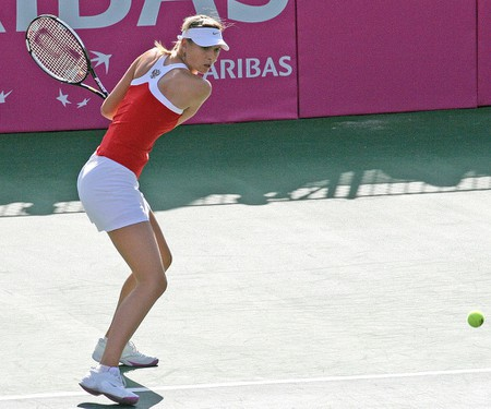Maria Sharapova hitting backhand, Fed Cup match vs Tsipora Obziler, National Tennis Center, Ramat HaSharon, Israel