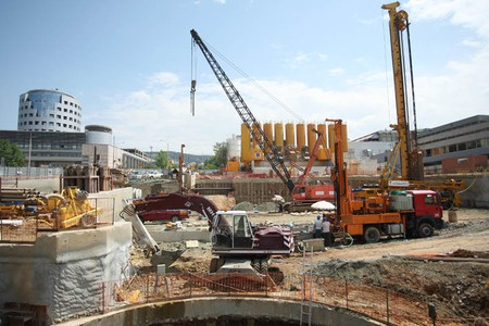 Construction site of Panepistimio subway stop