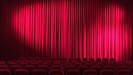 Hall Theater Cinema Curtain Film Screening Red