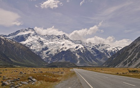 The road towards Mt Cook National Park, New Zealand