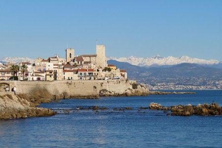 The dramatic backdrop of Antibes on a clear day