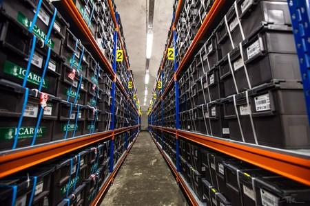 one row of the shelves and boxes that make up the world's largest collection of crop diversity. © Michael Poliza